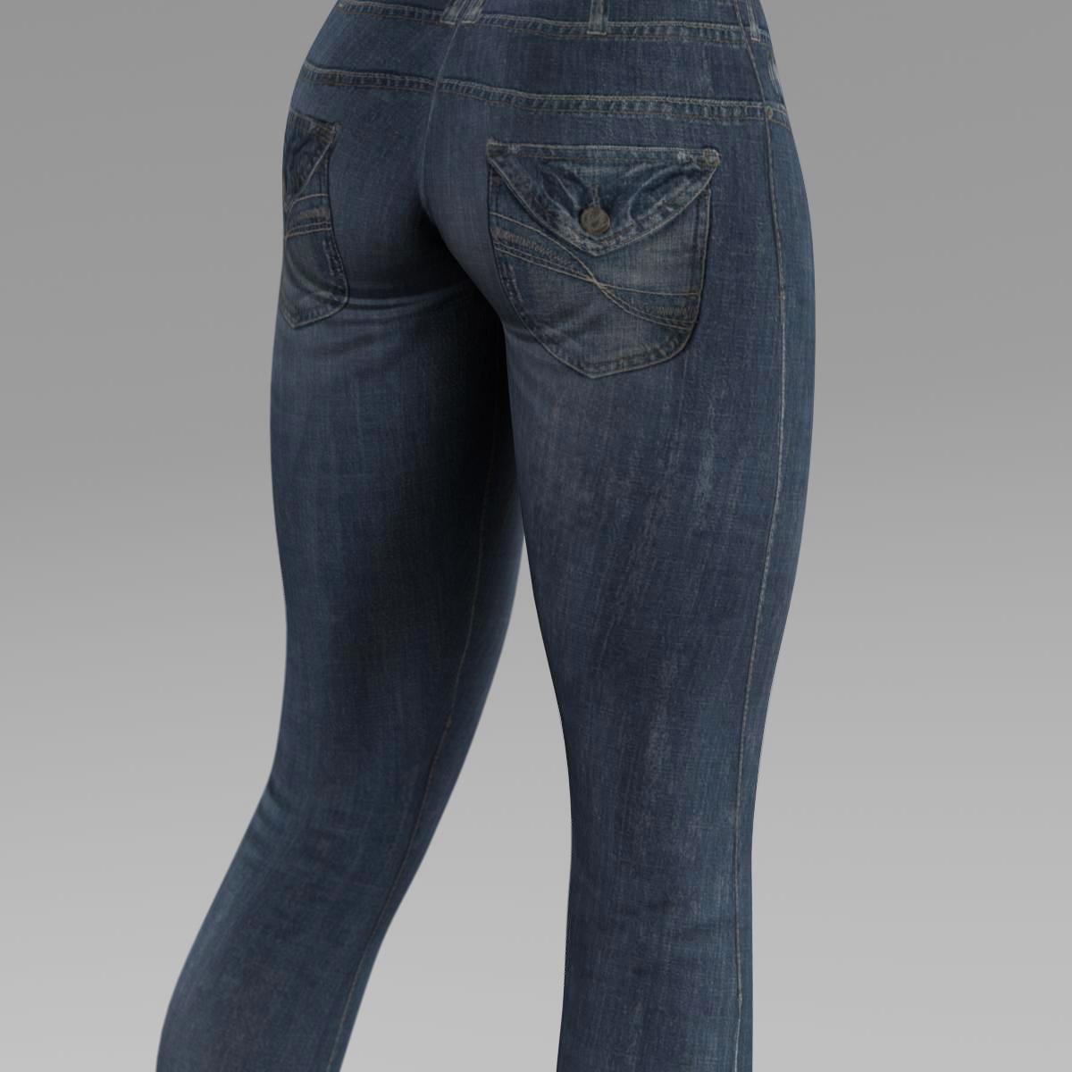 female jeans 3d model 3ds max fbx c4d ma mb obj 160406