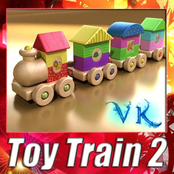 wooden toy train high res 3d model 3ds max fbx obj 131754