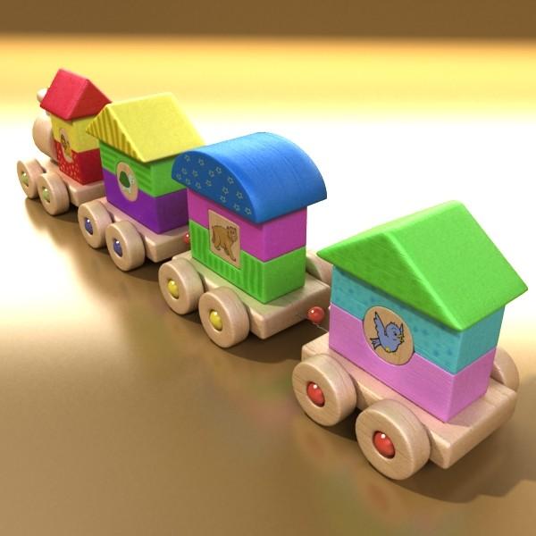 koka rotaļlietu vilciens augsts res 3d modelis 3ds max fbx obj 131756