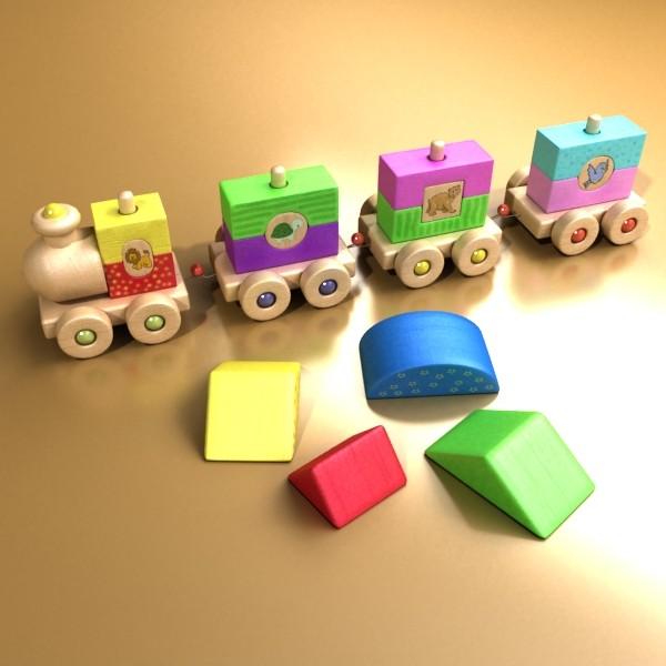 koka rotaļlietu vilciens augsts res 3d modelis 3ds max fbx obj 131762