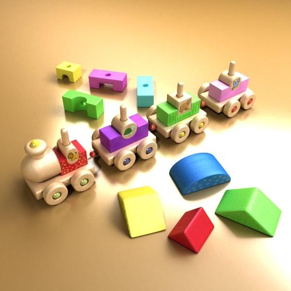 koka rotaļlietu vilciens augsts res 3d modelis 3ds max fbx obj 131763