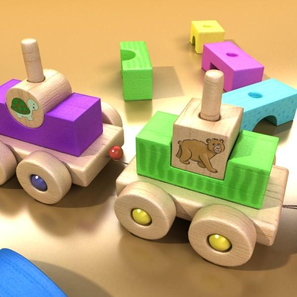 koka rotaļlietu vilciens augsts res 3d modelis 3ds max fbx obj 131764