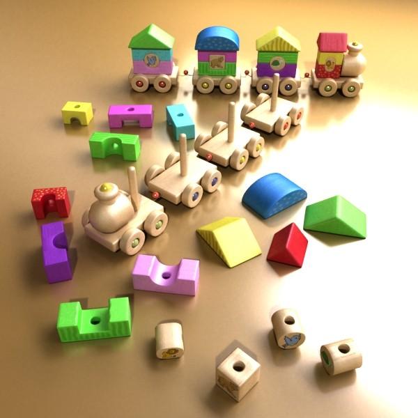 koka rotaļlietu vilciens augsts res 3d modelis 3ds max fbx obj 131766