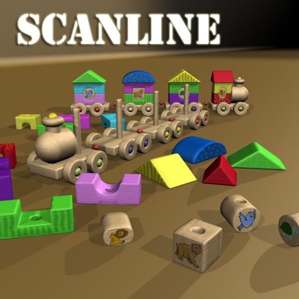 koka rotaļlietu vilciens augsts res 3d modelis 3ds max fbx obj 131767