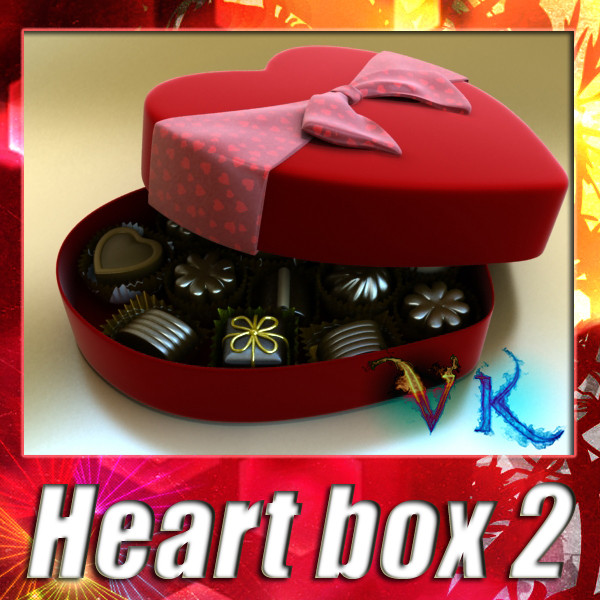 chocolate candy pieces in heart box 3d model 3ds max fbx obj 132536