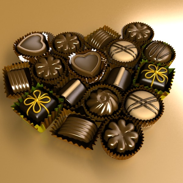 chocolate candy pieces in heart box 3d model 3ds max fbx obj 132537