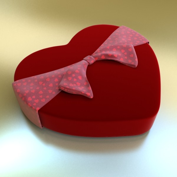 chocolate candy pieces in heart box 3d model 3ds max fbx obj 132538