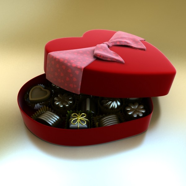 chocolate candy pieces in heart box 3d model 3ds max fbx obj 132539