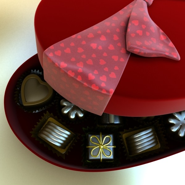 chocolate candy pieces in heart box 3d model 3ds max fbx obj 132540