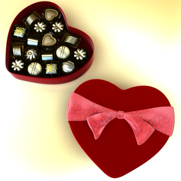 chocolate candy pieces in heart box 3d model 3ds max fbx obj 132543