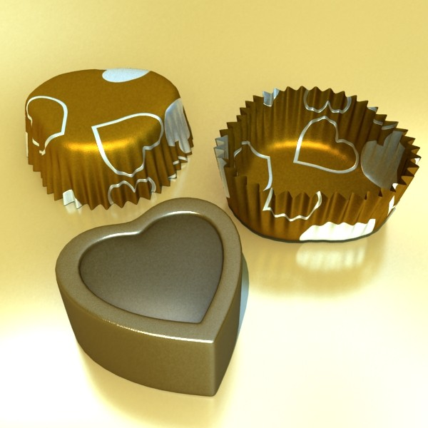 chocolate candy pieces in heart box 3d model 3ds max fbx obj 132554