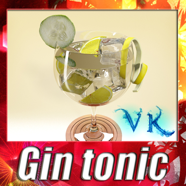 high detailed liquor glass – gin tonic 3d model 3ds max fbx obj 138570