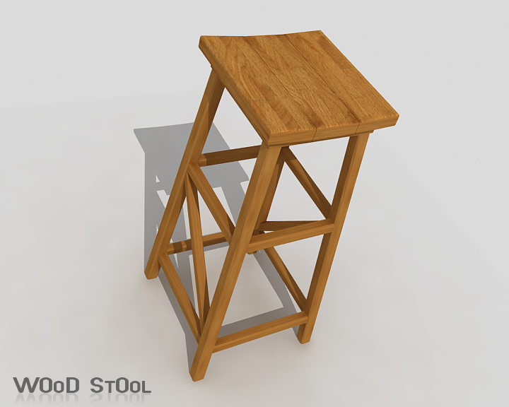 wood stool 3d model 3ds max obj 115437