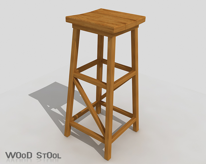 wood stool 3d model 3ds max obj 115438