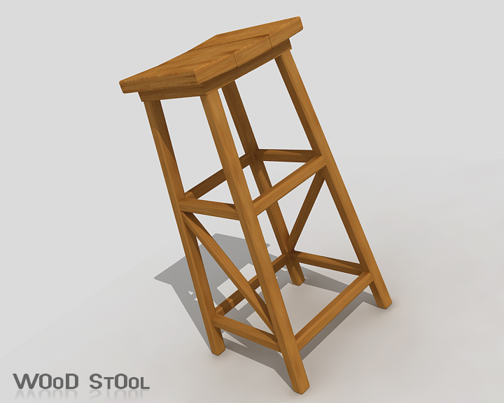 wood stool 3d model 3ds max obj 115439
