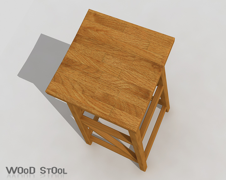wood stool 3d model 3ds max obj 115440