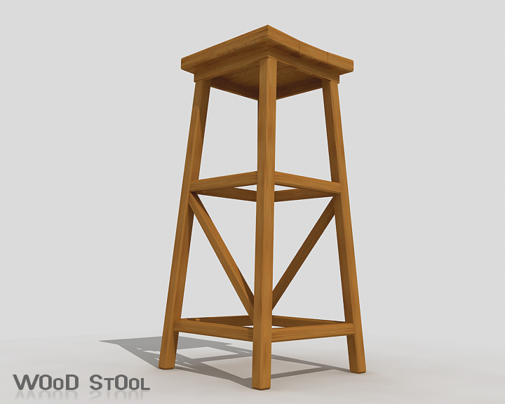 wood stool 3d model 3ds max obj 115441