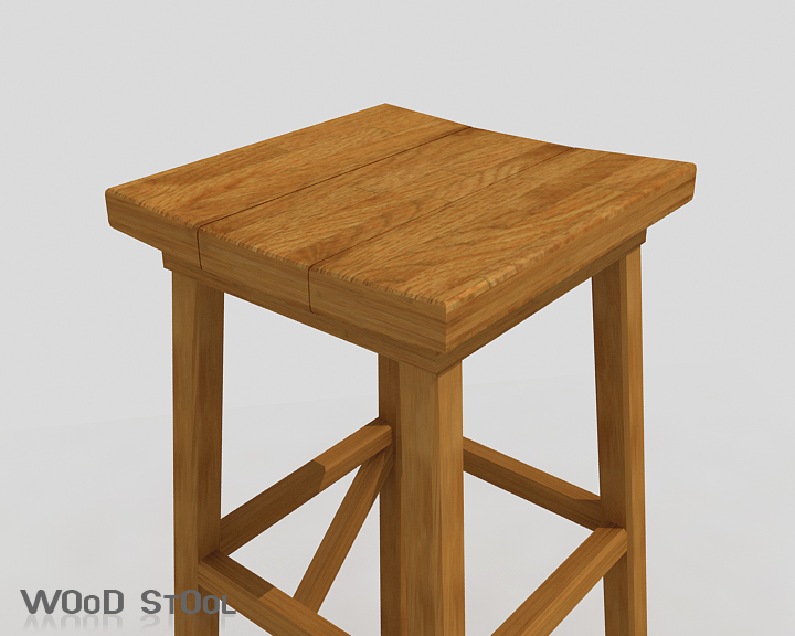 wood stool 3d model 3ds max obj 115443