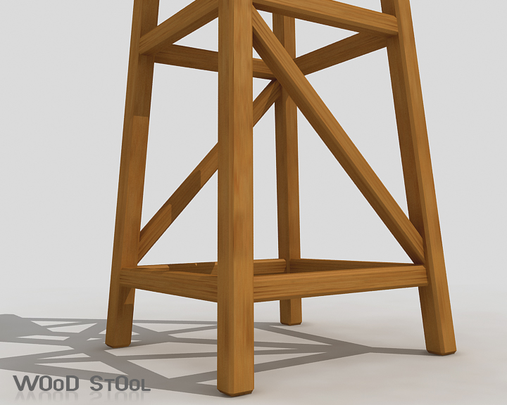 wood stool 3d model 3ds max obj 115444