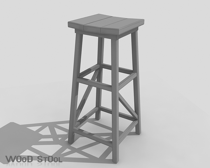 wood stool 3d model 3ds max obj 115445