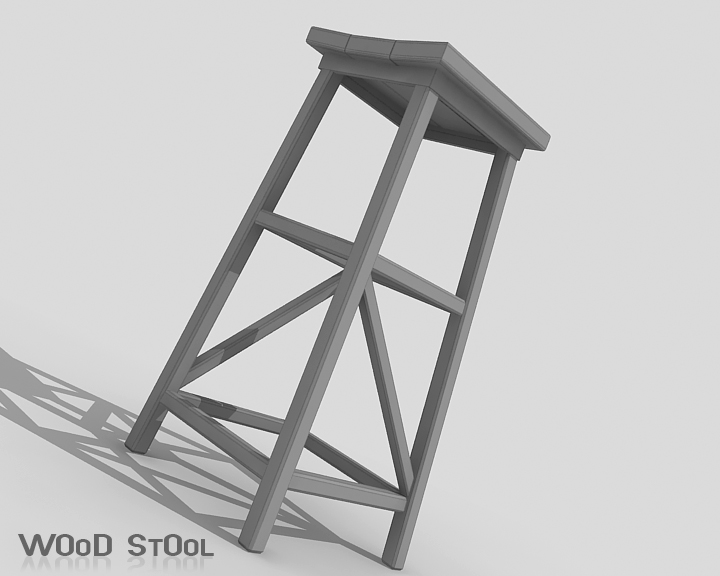 wood stool 3d model 3ds max obj 115446