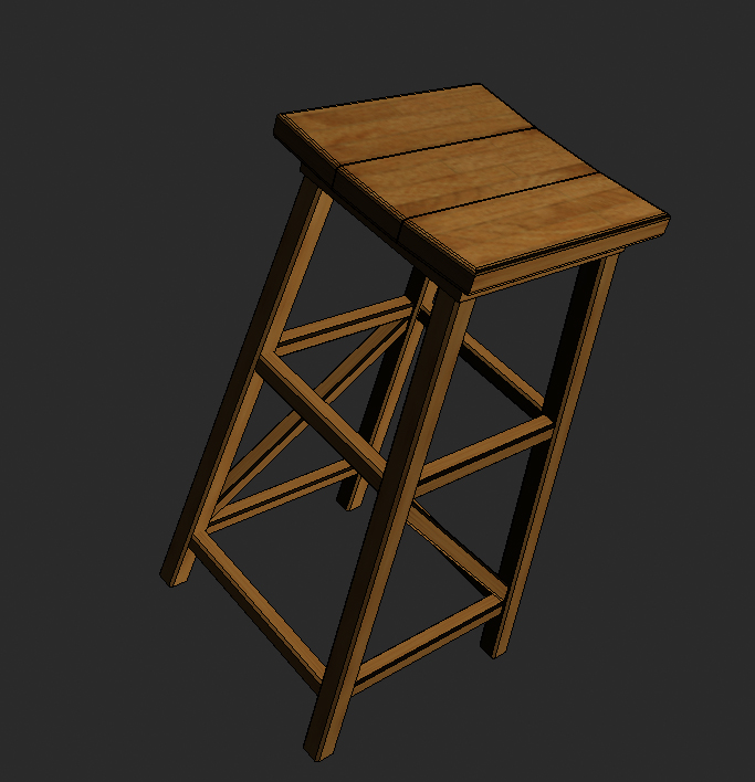wood stool 3d model 3ds max obj 115447