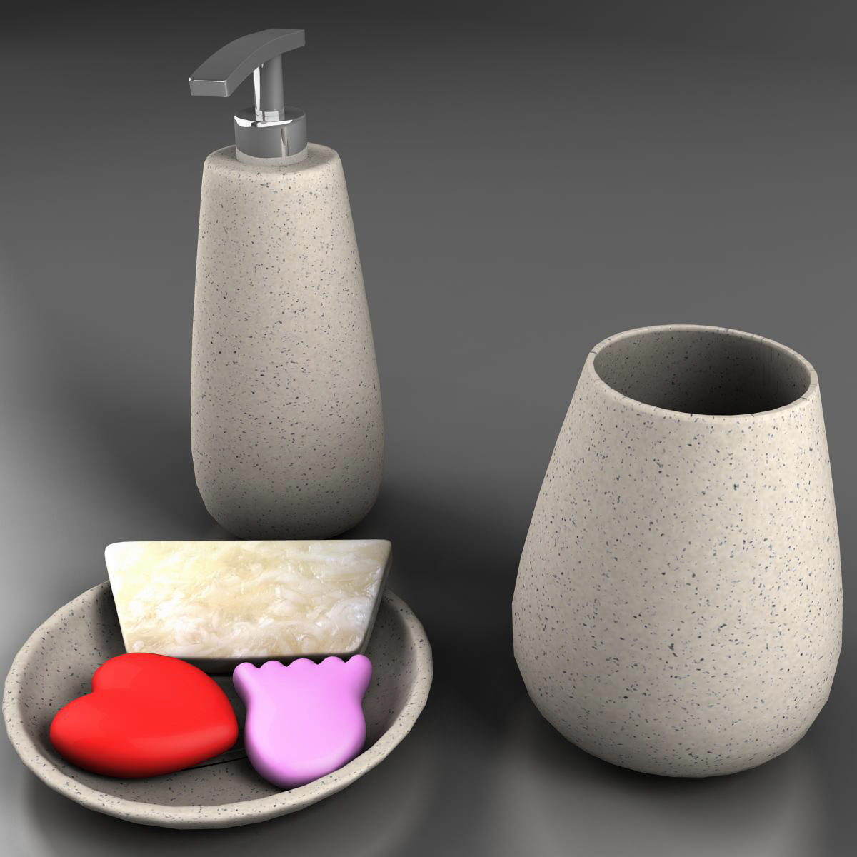 bath set 3d model 3ds max fbx ma mb obj 158109