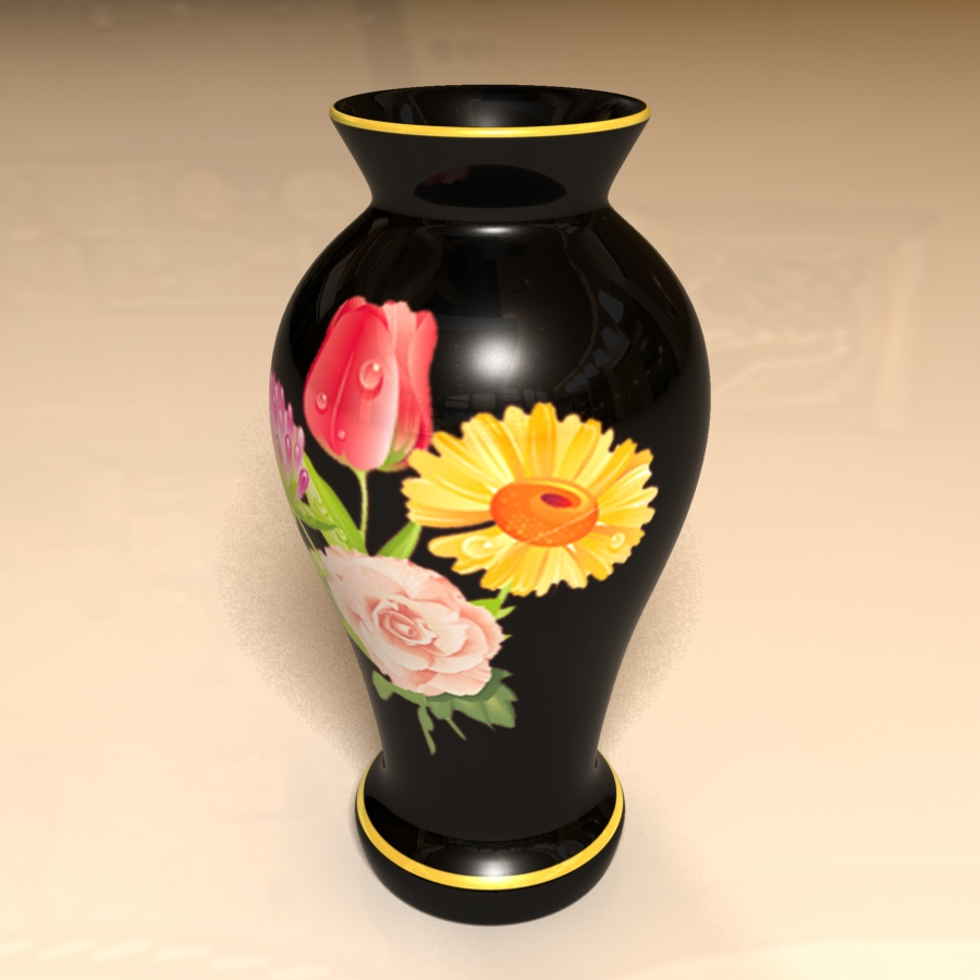 black vase 3d model 3ds max blend br4 obp obj 119328