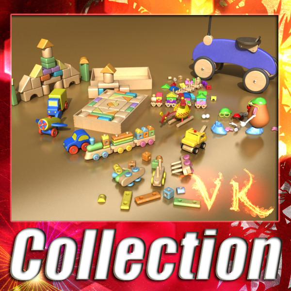 toys collection 10 items 3d model 3ds max fbx obj 131780