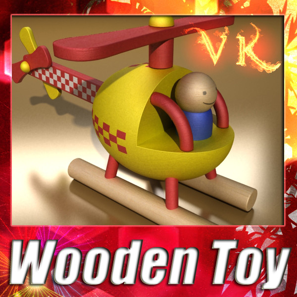 wooden toy helicopter 3d model 3ds max fbx obj 131771