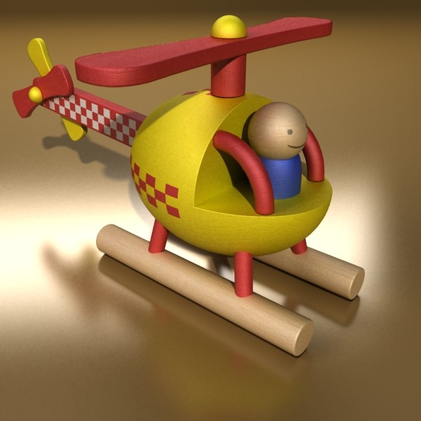 wooden toy helicopter 3d model 3ds max fbx obj 131772