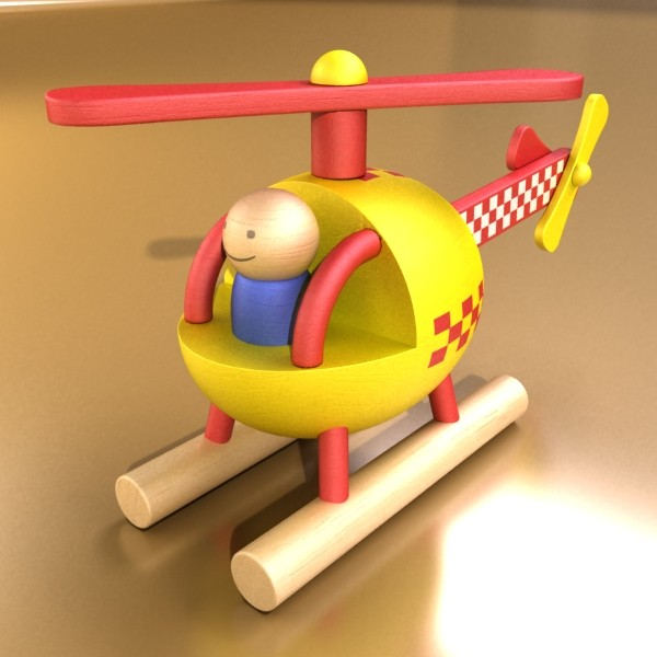 wooden toy helicopter 3d model 3ds max fbx obj 131773