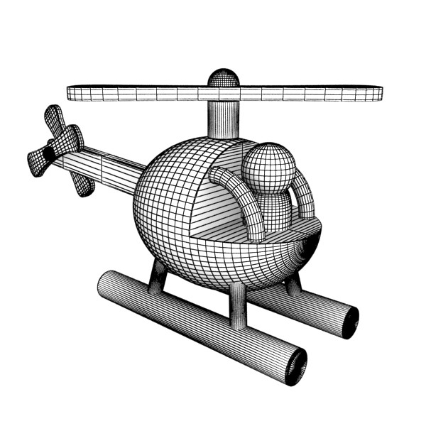 wooden toy helicopter 3d model 3ds max fbx obj 131778