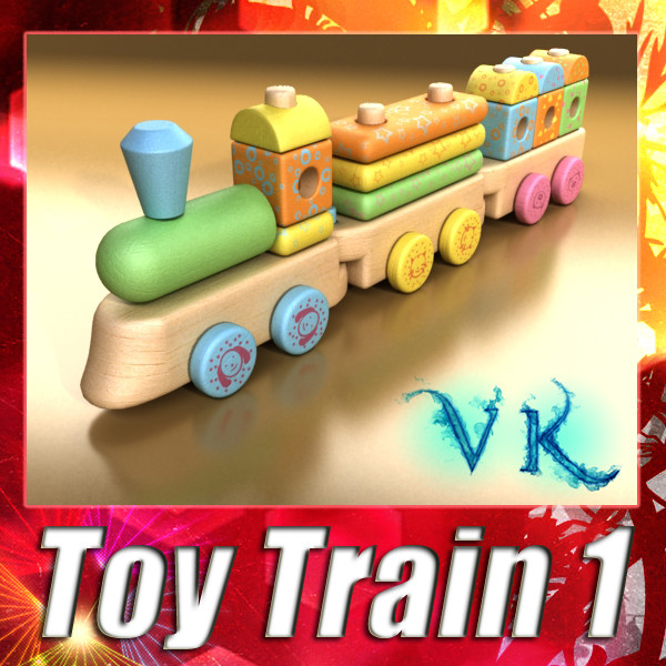 wooden toy train 3d model 3ds max fbx obj 131738
