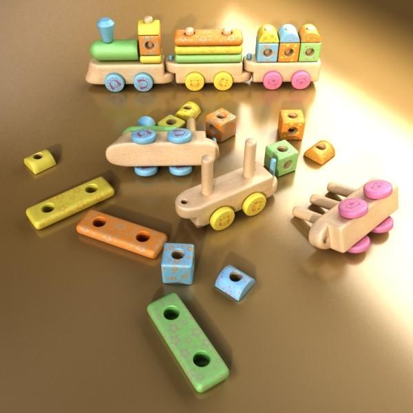 wooden toy train 3d model 3ds max fbx obj 131739