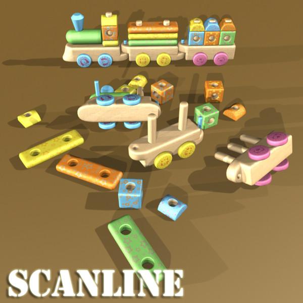 wooden toy train 3d model 3ds max fbx obj 131740