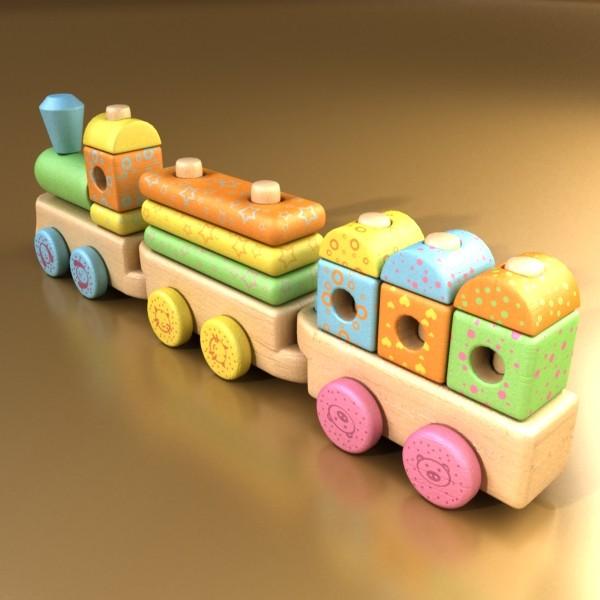 wooden toy train 3d model 3ds max fbx obj 131742