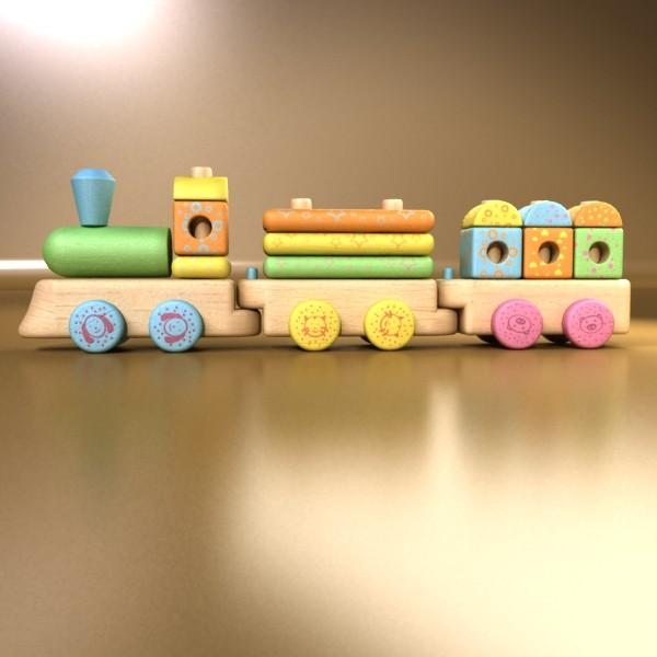 wooden toy train 3d model 3ds max fbx obj 131745