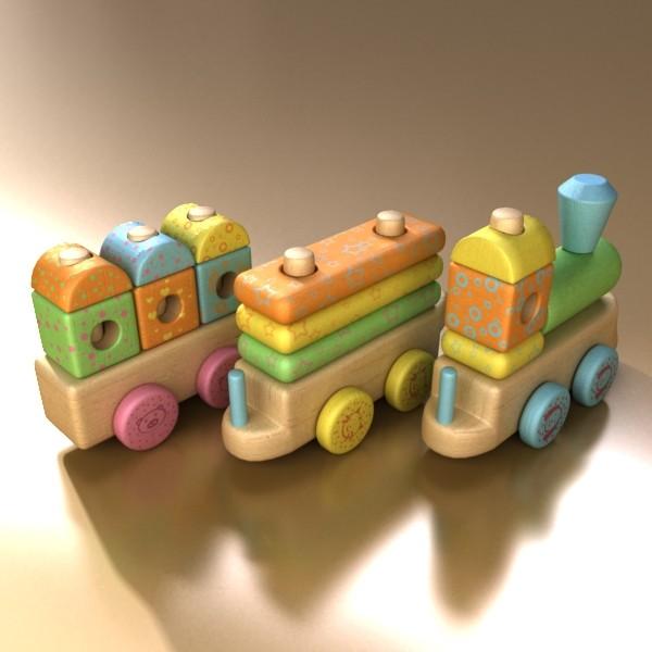 wooden toy train 3d model 3ds max fbx obj 131747