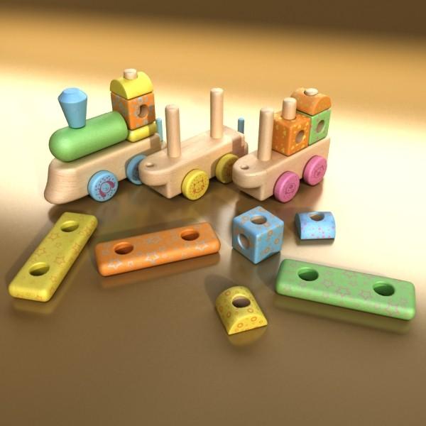 wooden toy train 3d model 3ds max fbx obj 131748