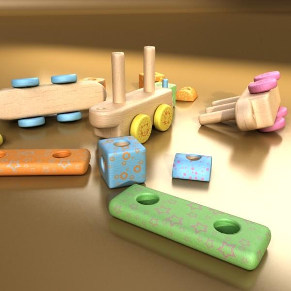 wooden toy train 3d model 3ds max fbx obj 131750