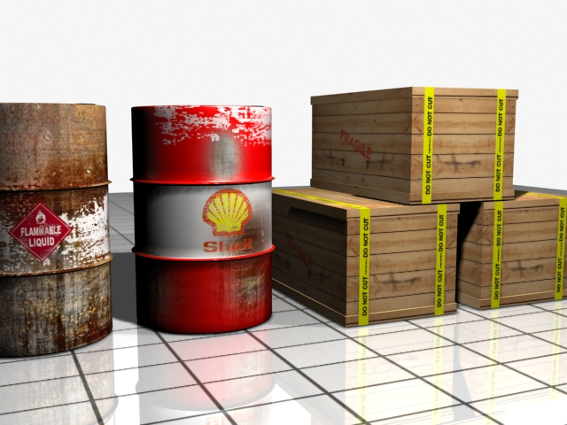 barrel and shipping box 3d model max 147496