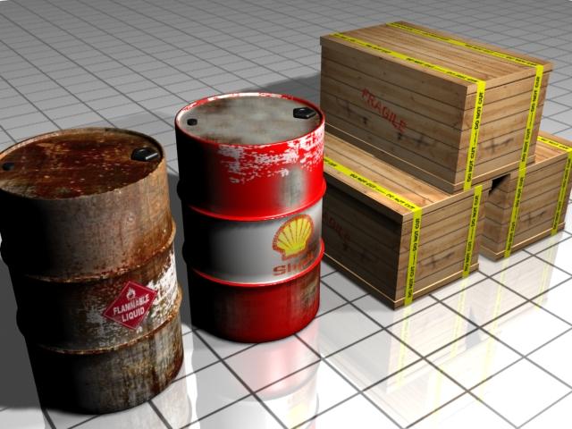 barrel and shipping box 3d model max 147497