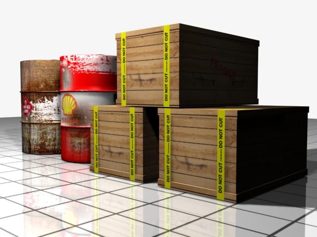barrel and shipping box 3d model max 147498