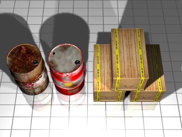 barrel and shipping box 3d model max 147499
