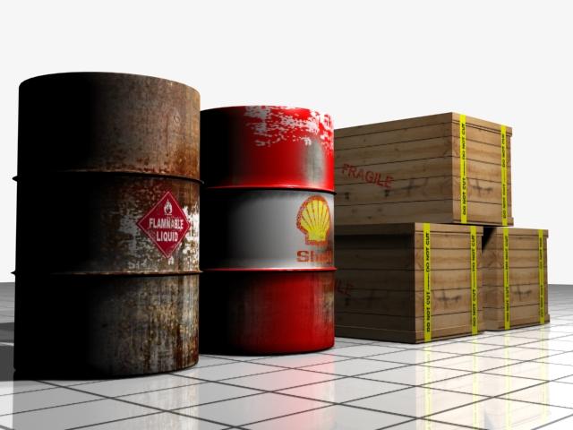 barrel and shipping box 3d model max 147500