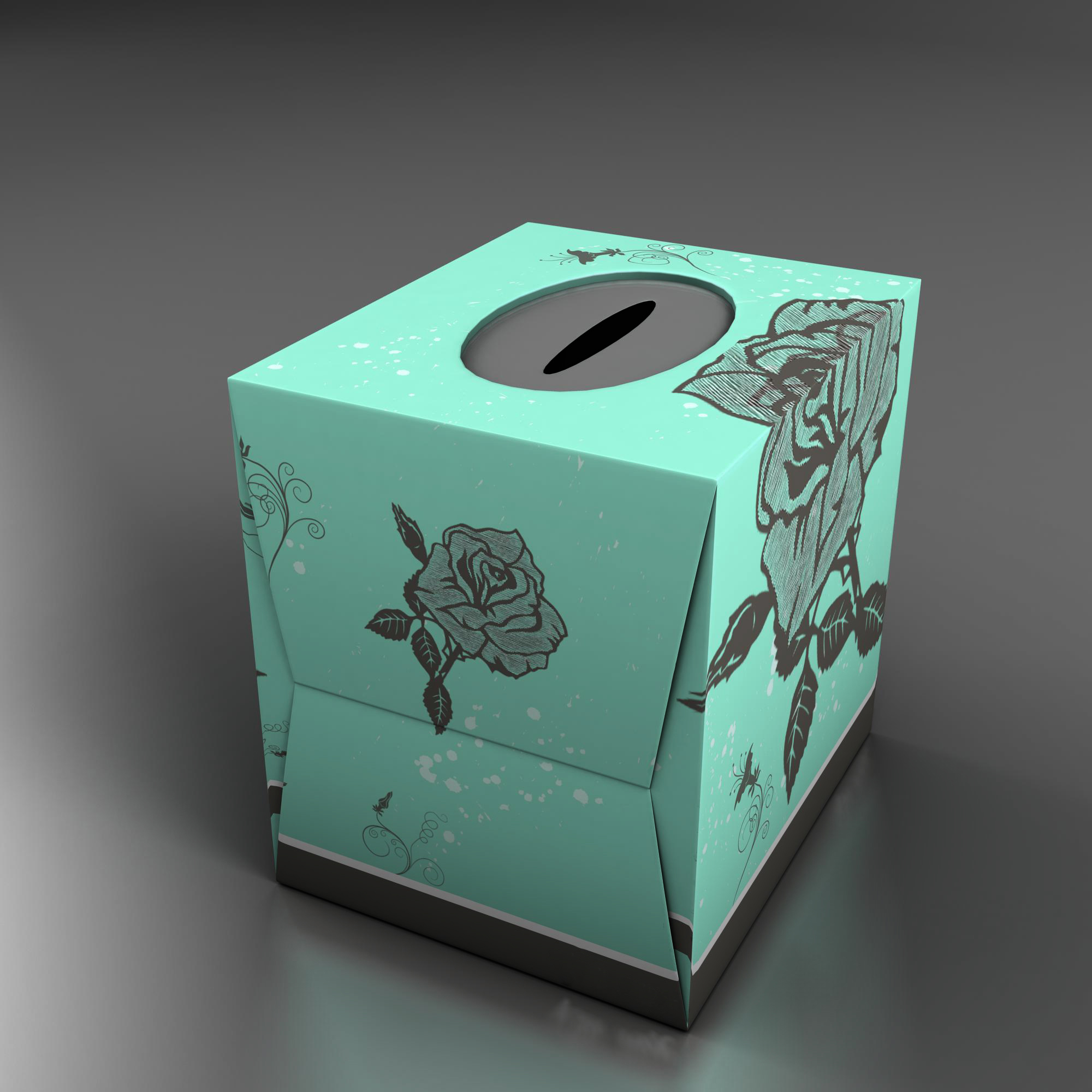teal tissue box with roses 3d model 3ds max fbx ma mb obj 157245