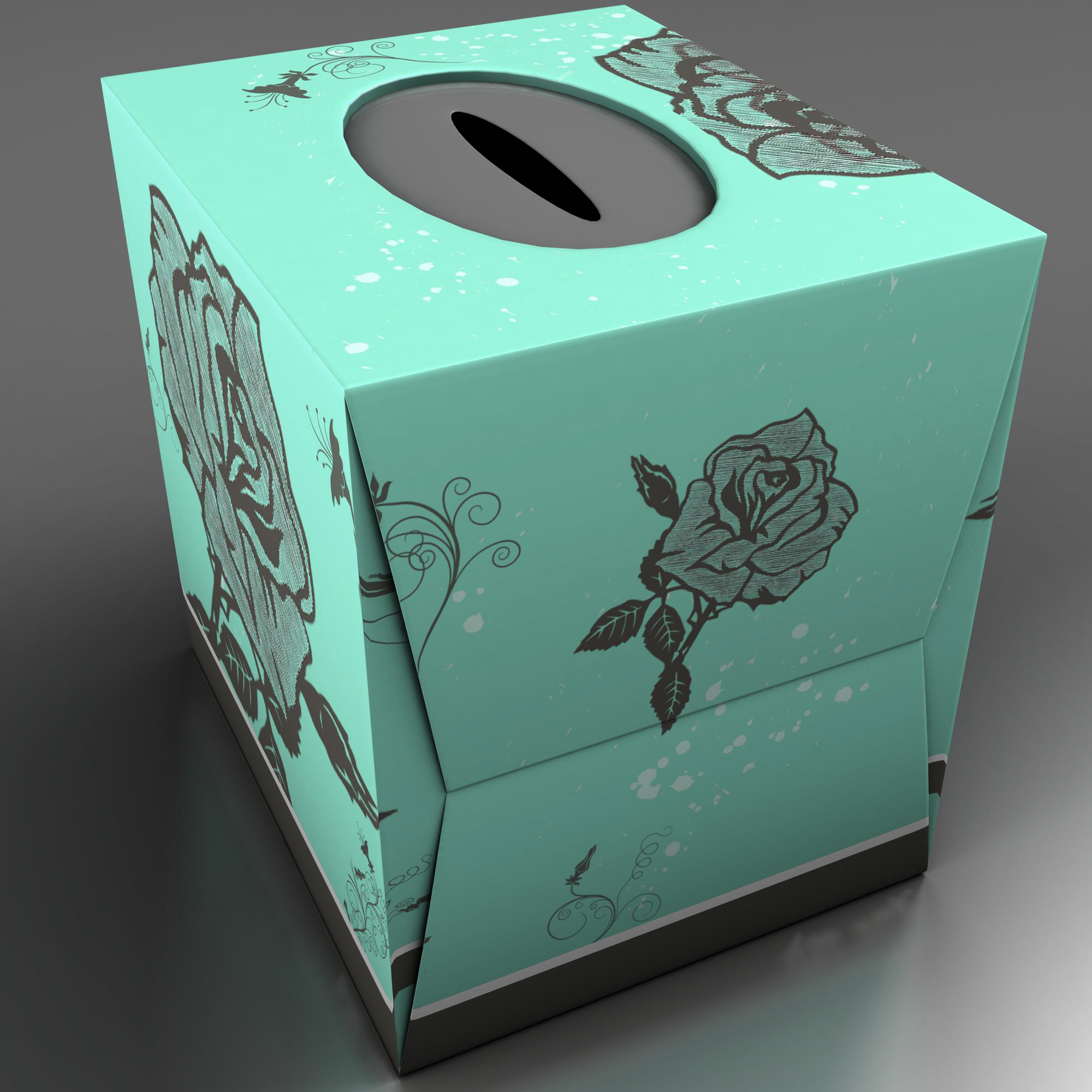 teal tissue box with roses 3d model 3ds max fbx ma mb obj 157246