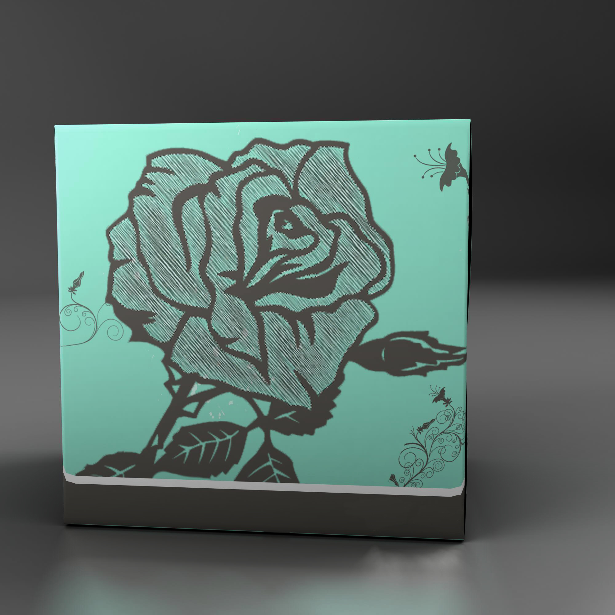 teal tissue box with roses 3d model 3ds max fbx ma mb obj 157248