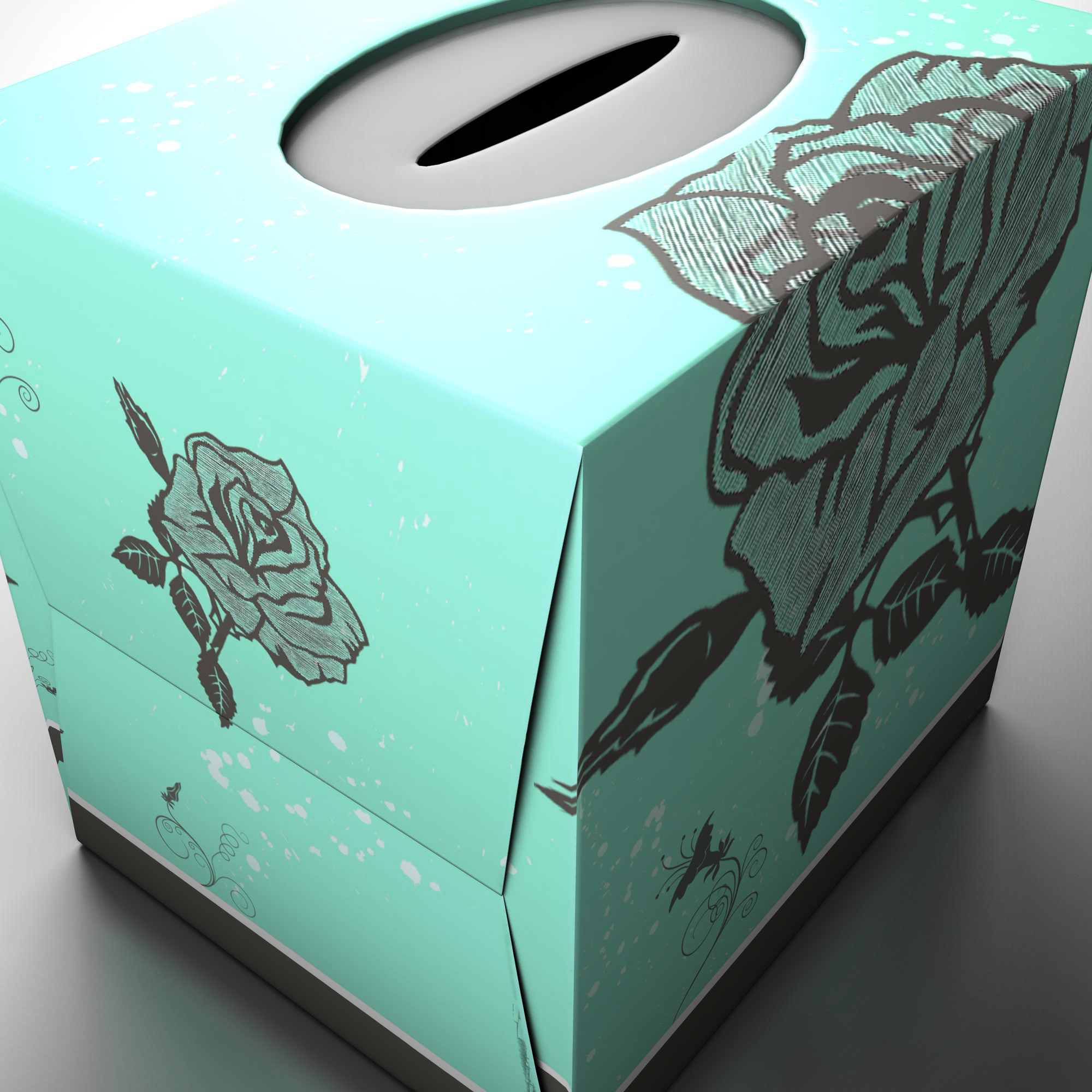 teal tissue box with roses 3d model 3ds max fbx ma mb obj 157250
